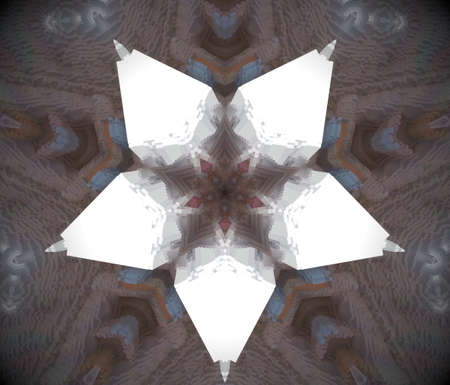 five star: Extruded mandala. 3D illustration. Abstract shapes. Five sided star. White, brown and blue.