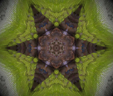 Extruded mandala. 3D illustration. Abstract shapes. Six sided star. Gray and green. Brown and purple.