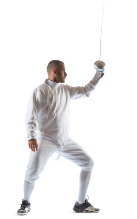 wins: Fencing athlete wins the competition isolated in white background.