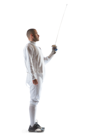 rapier: Fencing athlete wins the competition isolated in white background.