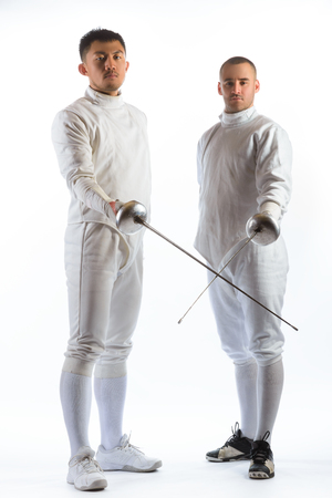 are thrust: Fencing athletes or players isolated in white background.