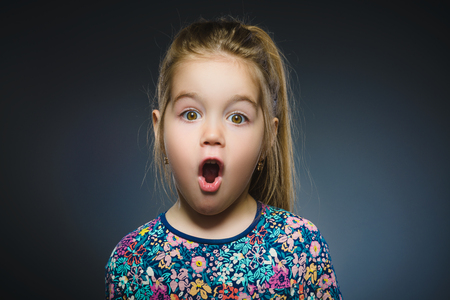 manic: Closeup Portrait of little girl going surprise on gray background