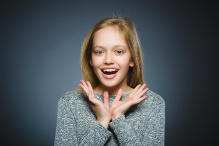 Closeup portrait successful happy girl isolated grey background. Banque d'images