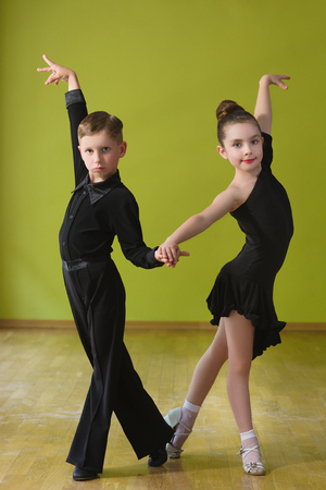Dance children couple dancing ballroom dance in class
