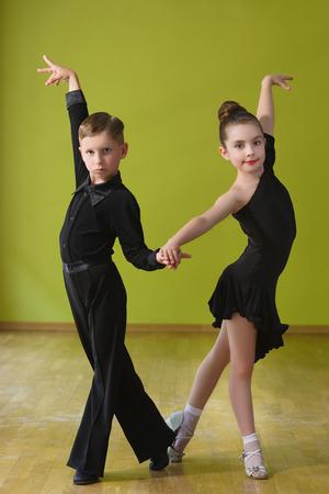Dance children couple dancing ballroom dance in class