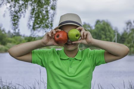 Baby Baby Boy Apples Fruit Autumn Summer Nature Picnic Reklamní fotografie