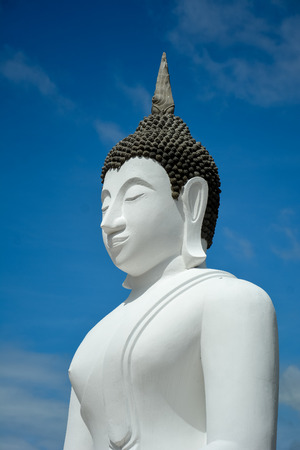 buddah: White buddah statue on blue sky background