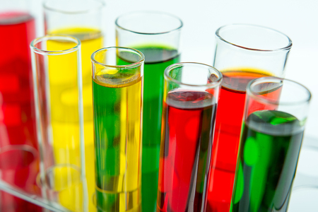 test: Laboratory test tube on white background Stock Photo