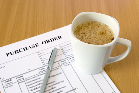 purchase: cup of coffee on purchase order form