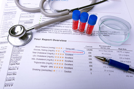 Blood in tubes with lab test result