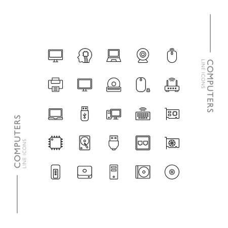 Computers and Technology Minimalistic Slim Modern Line Icons Standard-Bild - 138446305