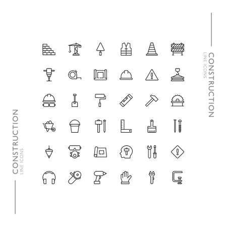 Construction and Building Minimalistic Slim Modern Line Icons