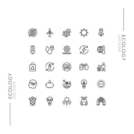 Ecology and Green Planet Minimalistic Slim Modern Line Icons