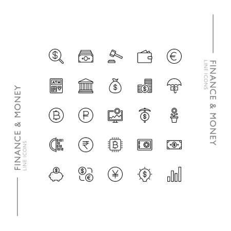 Finance and Money Minimalistic Slim Modern Line Icons  イラスト・ベクター素材