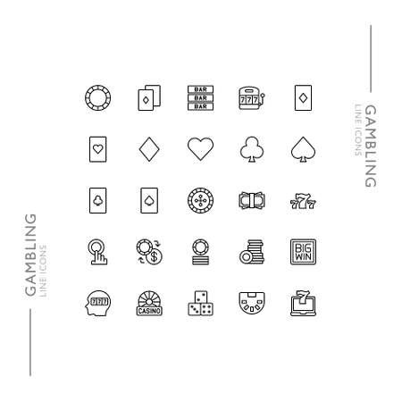 Gambling and Casino Games Minimalistic Slim Modern Line Icons