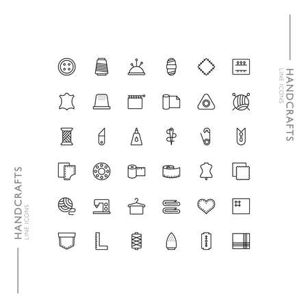 Handcrafts and Production Minimalistic Slim Modern Line Icons Illustration