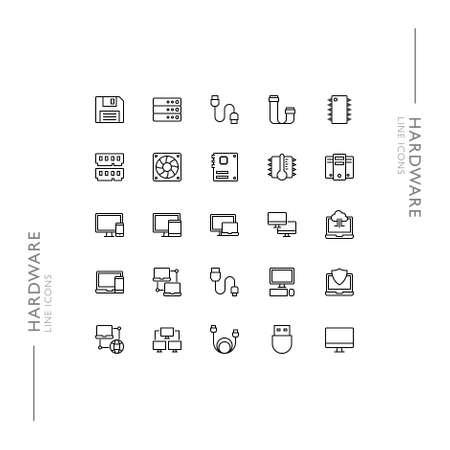 Hardware and Computers Minimalistic Slim Modern Line Icons Standard-Bild - 138446317