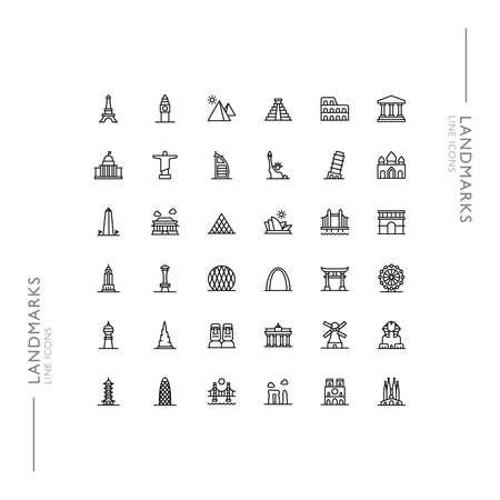 Buildings and Landmarks Minimalistic Slim Modern Line Icons