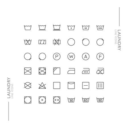 Laundry and Washing Minimalistic Slim Modern Line Icons Stock Illustratie