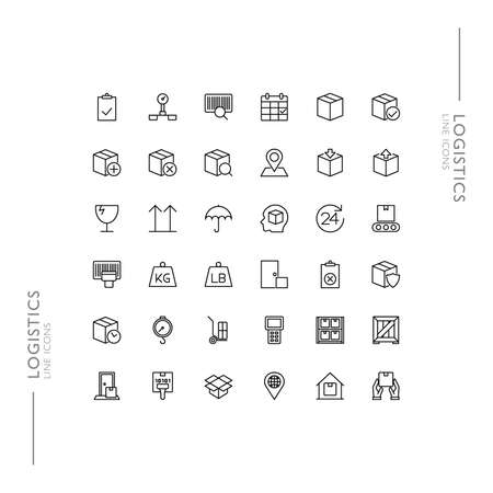 Logistics and Shipping Minimalistic Slim Modern Line Icons