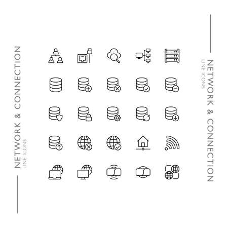 Network and Connection Minimalistic Slim Modern Line Icons