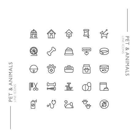 Pet and Animals Minimalistic Slim Modern Line Icons 向量圖像