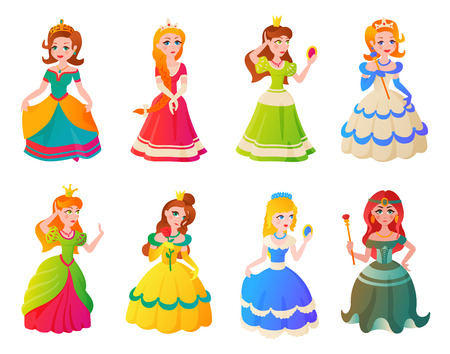 Cute collection of beautiful princesses vector character set Illustration