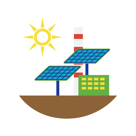 Power alternative energy and eco solar panels technology. Renewable nature environmental industry. Source electricity conservation vector illustration.