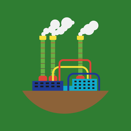 Power alternative energy factory and eco turbine technology. Renewable nature environmental industry. Source electricity conservation vector illustration.