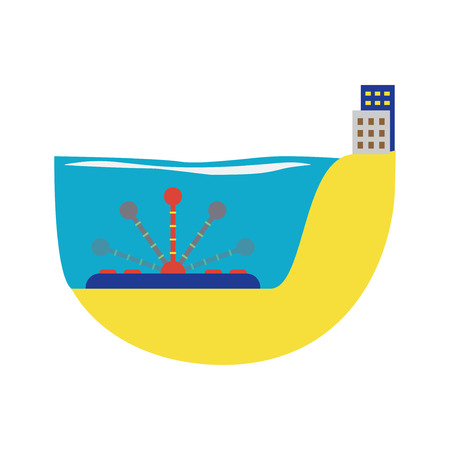 water turbine: Power alternative energy and eco water turbine technology. Renewable nature environmental industry. Source electricity conservation vector illustration.