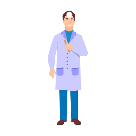 Vector illustration of a man in white coat. Flat style doctor character. Professional cartoon ophthalmologist medical human worker. Uniform occupation person isolated male. Illustration