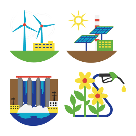 Power alternative energy and eco turbine technology. Renewable nature environmental industry. Source electricity conservation set vector illustration. Illustration