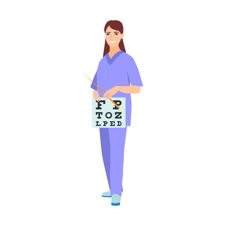 ophthalmologist: Vector illustration of a woman in blue coat. Flat style doctor character. Professional cartoon ophthalmologist medical human worker. Uniform occupation person isolated female. Illustration