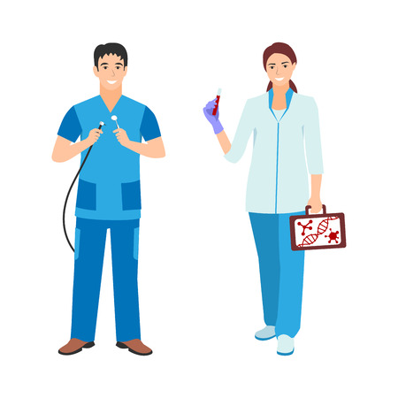Vector illustration of a dentist man and nurse woman in blue coat. Flat style different doctors characters. Professional cartoon pediatrician medical human worker.