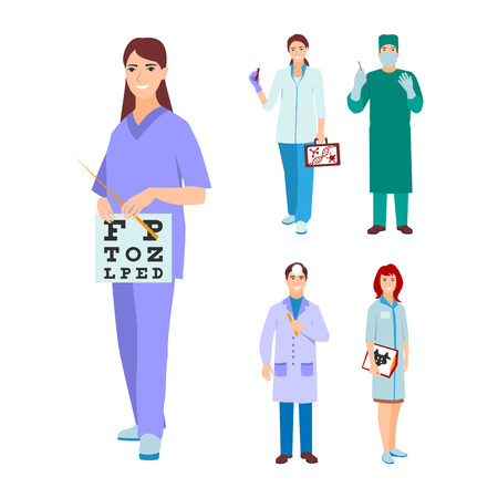 ophthalmologist: Vector illustration of a man and woman in uniform coat. Flat style different doctors characters. Professional cartoon ophthalmologist medical human worker.