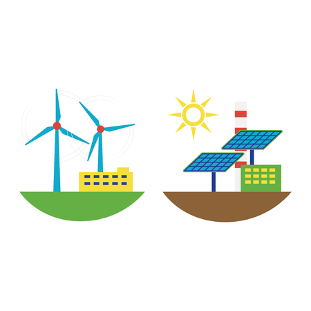 Power alternative energy and eco wind station technology. Renewable nature environmental industry. Source electricity conservation set vector illustration. Illustration