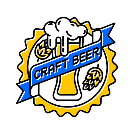 Vintage craft beer retro design element, emblem, symbol or vector icon, pub label, badge. Business signs template logo brewery identity hand made. Illustration