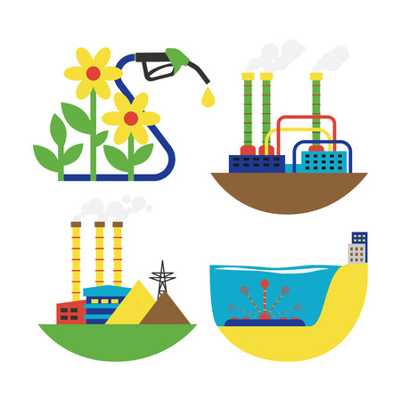 Power alternative energy factory and eco turbine technology. Renewable nature environmental industry. Source electricity conservation set vector illustration.