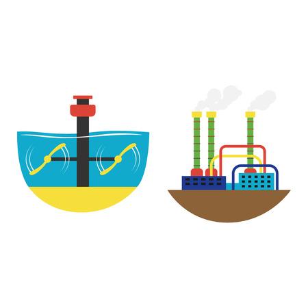 alternative energy: Power alternative energy and eco turbine technology. Renewable nature environmental industry. Source electricity conservation set vector illustration. Illustration