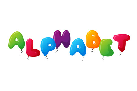 English balloon colorful alphabet on white background. Holidays and education ozone type. Greeting helium cartoon festive decoration vector illustration.