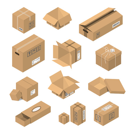 moving box: Carton delivery packaging open and closed with fragile signs. Vector illustration moving box isometric isolated warehouse transportation cardboard object.