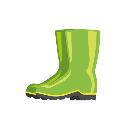 Green rubber boots vector isolated on white background. Pair weather waterproof foot wear. Autumn season protection for legs. Gardening fashion cloth.