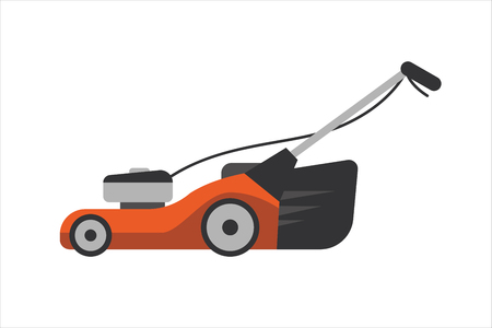 mowing the grass: Lawn mower vector illustration. Gardener landscaping blade power sign. Mowing machine for cut green grass. Tractor pruning steel technology object. Illustration
