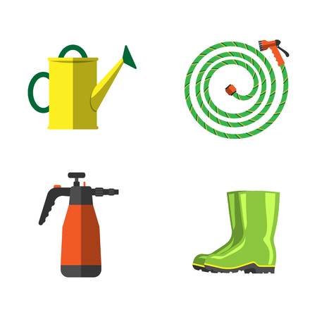 Set of agriculture farming tools on white. Spring garden equipment flat set. Vector watering green plants graphic sprayers irrigation element. Taking care of nature.