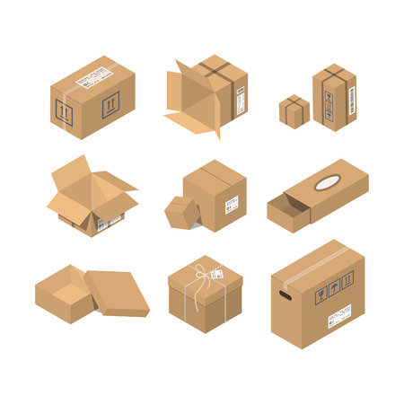 Move box service vector illustration. Craft empty package isolated on white background. Business relocation transportation cargo service. Shopping delivery tool. Ilustração