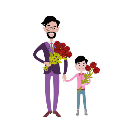 Father carrying kid together vector character relationship. Happy parenting cartoon love concept. Young person playing with family illustration.