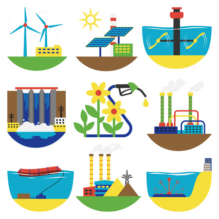 water sources: Different types of power and energy alternative sources generation including wind, solar, hydro or water dam and other