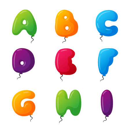 helium: English balloon colorful alphabet on white background. Holidays and education ozone type. Greeting helium cartoon festive decoration vector illustration.