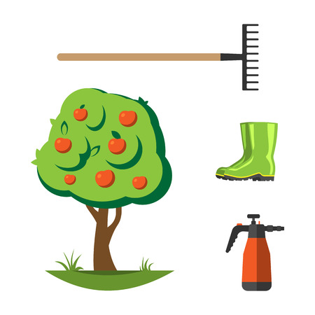 Set of agriculture farming tools on white. Spring garden equipment flat set. Vector watering green plants cartoon tree graphic element. Taking care of nature.