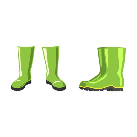 rubber boots: Green rubber boots vector isolated on white background. Pair weather waterproof foot wear. Autumn season protection for legs. Gardening fashion cloth.